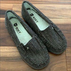 Roxy brown tweed loafer